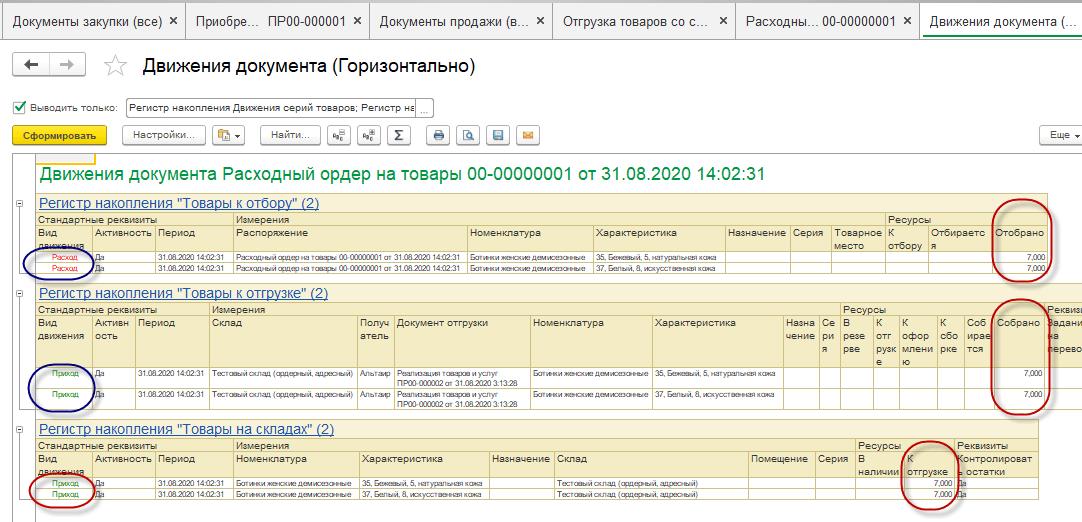 Статус в документе «Расходный ордер на товары»