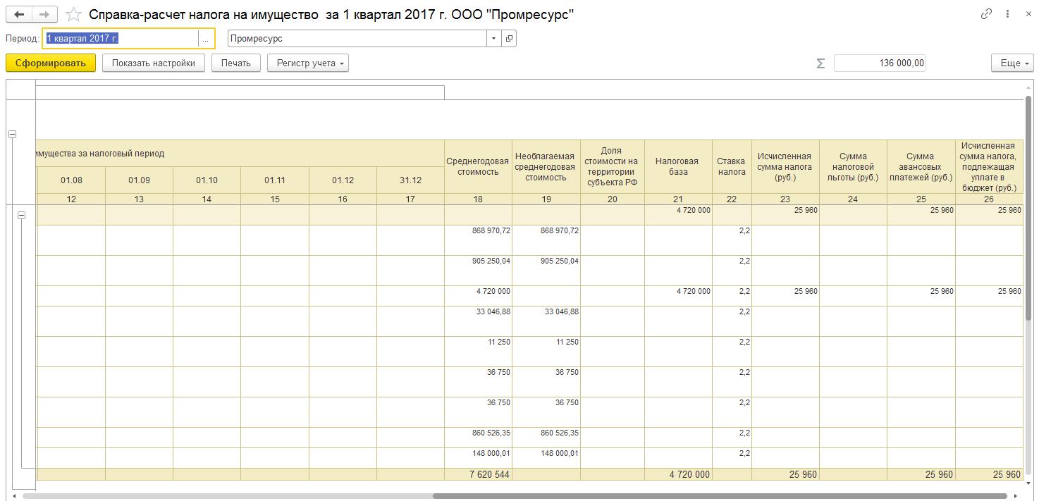 Справка расчет налога на имущество