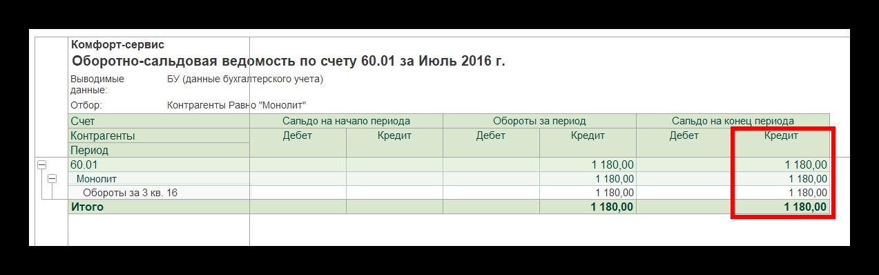ОСВ по 60 счету в 1С Бухгалтерия, редакция 3.0
