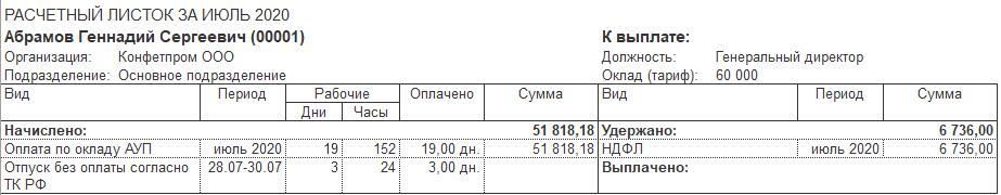 Расчет заработной платы за месяц
